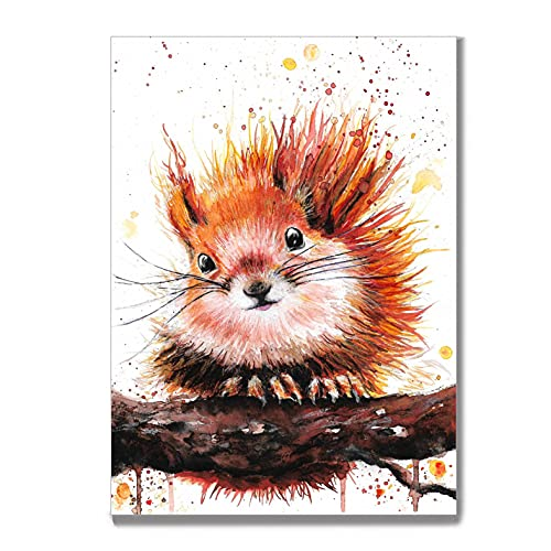 Tiny Tami Aquarell kawaii Eichhörnchen Wald Natur Postkarte Herbst Grußkarte Eichel
