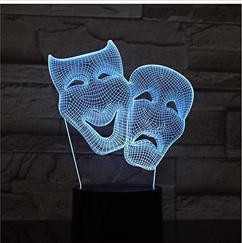 3D Halloween Masker Joker LED Acryl Nachtlampje met 7 Kleuren Touch Afstandsbediening Illusie Verandering