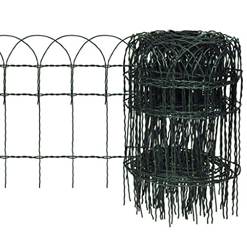 10m x 0.4m Decorative Hoop Top Garden Border Fence - Strong Green PVC Coated Wire Fencing for Boundaries and Edging Flower Beds