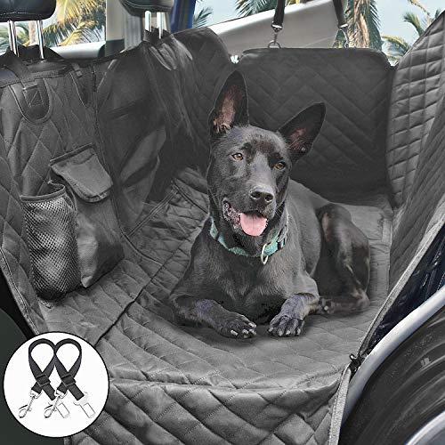 Cadosoigh Hundedecke für Auto Rückbank 146x136cm Kofferraumdecke für Hunde Hand Autoschondecke mit Sicherheitsgurt, Rücksitzbezüge für Hunde mit Sichtfenster Aufbewahrungsbeutel