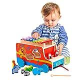 3 in 1: il nostro giocattolo in legno multifunzionale offre ai tuoi bambini 3 diverse attività- 8 colori mix design xilofono, 6 tipi di animali diversi per lo smistamento delle forme e un bus pull in legno. Selezionatore di forme animali: Animali di ...