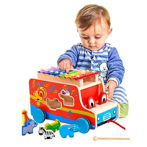 Giocattolo di Musica di Legno del Giocattolo del selezionatore di Forma del Giocattolo di Spinta in Legno per i Bambini dei Bambini del Bambino (Blue Wheels)