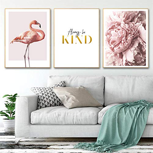 FGJF Modern Pink Peony Flowers Canvas Paintings Wall Art Pictures Always Be Kind Posters Prints Living Room Decor-50X70Cmx3 Pcs Frameless