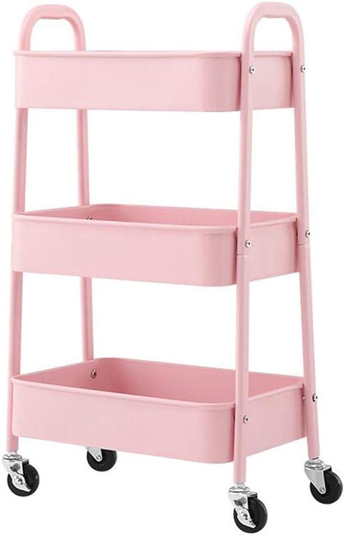 JCAFA Shelves Book Shelf Multi-Layer Mobile Rack Bathroom Rack Food Rack Trolley with Wheel Storage Rack (color   Pink, Size   15.74  11.02  29.13in)
