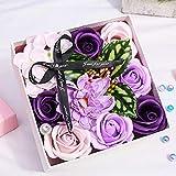 BestCool Flores de jabón, flores perfumadas de flores de rosas, pétalos púrpuras,jabón de baño,caja de regalo con tarjeta de felicitación y bolsa de regalo para el día de San Valentín, día de la madre