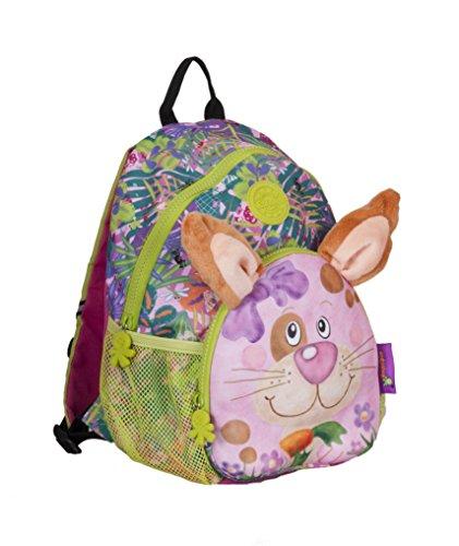 okiedog wildpack junior 86004 Kinderrucksack, Rucksack mit Plüschohren, Kita-Rucksack, Netzaußentaschen, Brustgurt, Hase rosa, ca. 25 x 12,5 x 28 cm
