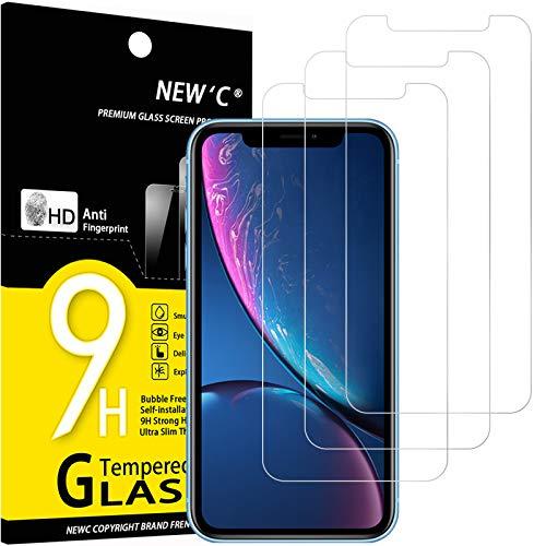 NEW'C 3 Unidades, Protector de Pantalla para iPhone 11 y iPhone XR (6.1'), Antiarañazo, Antihuella, Sin Burbujas, 9H, 0.33 mm, Vidrio Templado Ultra Resistente y Transparente