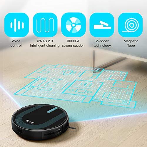 Proscenic 850T WLAN Saugroboter, Staubsauger Roboter, Alexa & Google Home & Appsteuerung, Saugroboter mit Wischfunktion, 3000Pa Saugleistung auf Teppichen und Hartböden, Magnetband für Begrenzung - 5