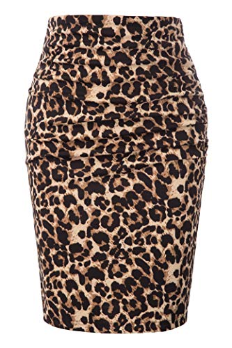 GRACE KARIN Women Ruched Front Hip Wrapped Office Leopard Pencil Skirt Size 2XL,Dark Brown