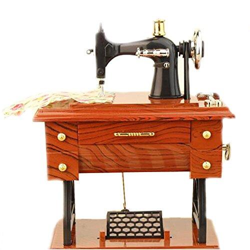 EULAGPRE 1x Máquina de Coser Retro Caja de Música Coleccionistas Ornamento Treadle
