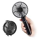 Leting Mini Ventilador de Mano Recargable con Carga USB, Plegable y Portátil de 5 Velocidad con batería 2600mAh para Actividades al Aire Libre, Negro