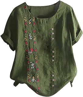TIFIY Top Casual da Donna Abbigliamento Taglie Forti Camicia Ricamata Floreale Boema Camicetta a Maniche Corte t-Shirt in ...