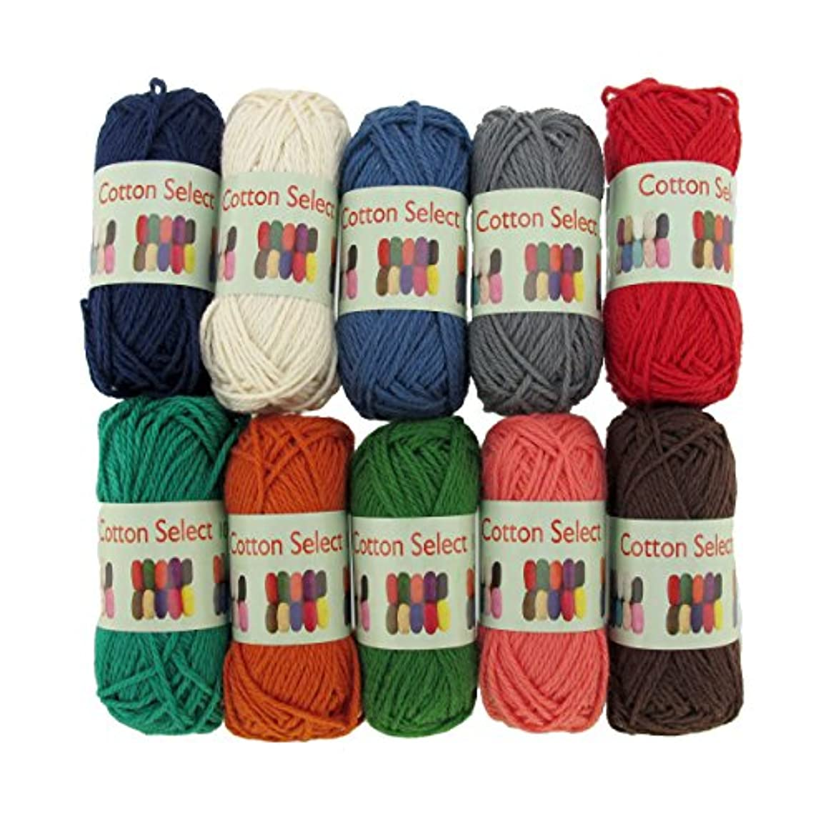 BambooMN Brand - Cotton Select Bonbon Yarns - Assortment 96 (Color D) - 10x 10g Solid Color Mini Ball - 1 Pack