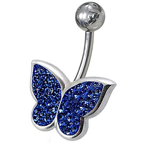 Multi dunkel blau Kristall Steinen Stein Fancy Schmetterling Sterling Silber Bauch Bars Piercing