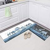 Alfombrillas geométricas de Cocina, Alfombrillas absorbentes Antideslizantes para baño, Alfombrillas Decorativas para la Sala de Estar del Dormitorio del hogar A3 60x180cm