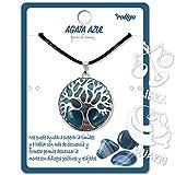 Collar de árbol de la Vida con Colgante Piedra Natural Energeticas - Distintas Piedras Semipreciosas (Ágata Azul)