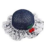Sombrero infantil de verano para niñas, con encaje, para la playa, sombrero de paja para el sol, sombrero de pescador, para el exterior, bonito sombrero para el sol, azul marino, Talla única