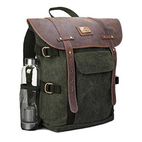 Leather Backpack for Men TOPWOLFS Canvas Backpack Vintage Rucksack fit 15.6' Laptop Anti-theft Pocket Multifunction Books School Travel Bag (Green&Brown Leather)