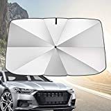 JOYTUTUS Car Windshield Umbrella with Safety Hammer, Fit For Pickup MPV Truck, Keep Your Car Cool Car Sun Umbrella, The 360° Rotation Bendable Shaft Protect The Car Center Console, Easy to Store/Use