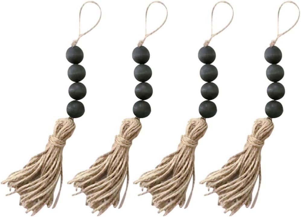 VOSAREA Milwaukee Mall 4pcs Wood Bead Garlands with Rope Tassels Rustic Jute Fa Max 64% OFF