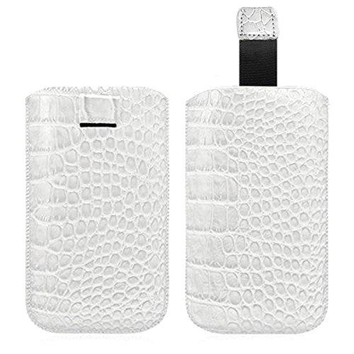 Seluxion–Carcasa con tirador estilo cocodrilo color blanco para Sony Xperia M/Xperia Z1Compact/Xperia L