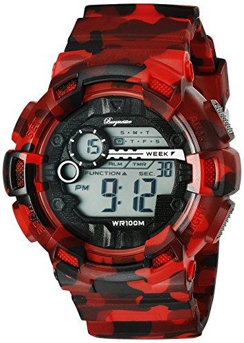 Burgmeister Armbanduhr für Herren mit Digital Anzeige, Chronograph mit Kunststoff Armband - Wasserdichte Herrenarmbanduhr mit zeitlosem, schickem Design - klassische für Männer - BM803-024 Halifax
