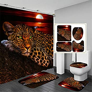 4Pcs Moon Leopard Cheetah Shower Curtain Sets with 12 Hooks,Bathroom Curtains Shower Set Toilet Mat Lid Rug,Bathroom Sets Shower Curtain Sets and Rugs and Accessories,72x72inch