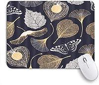 NIESIKKLAマウスパッド 花イチョウBiloba葉蝶標本 ゲーミング オフィス最適 高級感 おしゃれ 防水 耐久性が良い 滑り止めゴム底 ゲーミングなど適用 用ノートブックコンピュータマウスマット