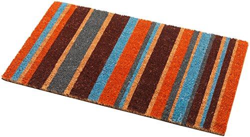 Addis Deur Mat 100% Natuurlijke Kokos Paal met Multi Kleur Streep Design-70 x 40 cm, 70_x_40_cm