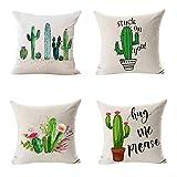 Gereton 4 stücke Tropische Pflanzen Baumwolle Leinen Dekokissen Cases Cactus Dorn Muster Home Decor...