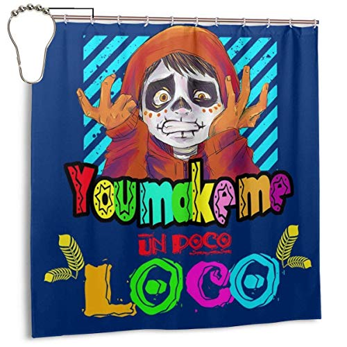 Yuanmeiju Mode wasserdichter Duschvorhang Make Me Un Poco Loco Print Decorative Bathroom Curtain with Hooks 72 X 72 Inch