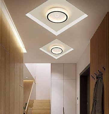 Moderne Plafonnier avec Détecteur de Mouvement LED Lampe à Détecteur Ronde Couloir 16W Lampe de Plafond Lumière blanche chaud