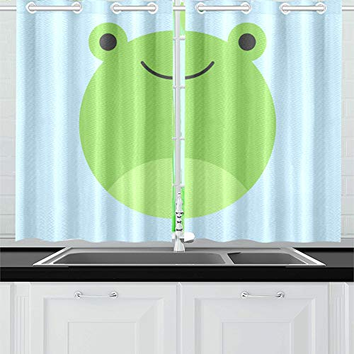 "Kitchen Curtains Cute Frog Round Graphic Icon Window Drapes 2 Panel Set for Kitchen Cafe Decor, 52"" X 39"", Best Window Curtains"