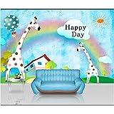 Qqasd 3D Kinder Baby Zimmer Tapete Benutzerdefinierte Foto Mural Vlies Wandaufkleber Giraffe Geburtstag Malerei Schlafzimmer 3D Wandbild Tapete-110X90CM