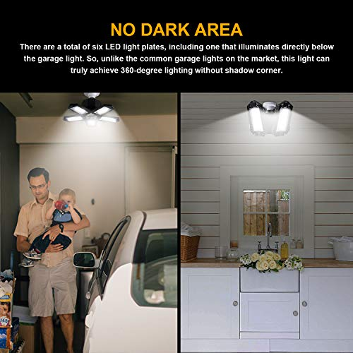 LED Garage Lights 2 Pack, Deformable Garage Ceiling Light 8000LM 80W 6500K with 5 Adjustable Panels Shop High Bay Light for Barn, Warehouse, Workshop, Basement 5