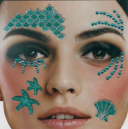 Brandsseller Gesichts-Tattoo Meerjungfrau - Aufkleber Set Klebetattoos Temporäre Tattoos...