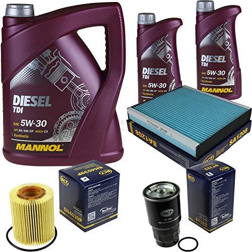 Filter Set Inspektionspaket 7 Liter MANNOL Motoröl Diesel TDI 5W-30 API SN/CF SCT Germany Innenraumfilter Ölfilter Kraftstofffilter
