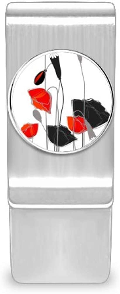 Red Flowers Abstract Art Line Painting San Jose Mall Super sale Corn Clip Money Poppy Cas