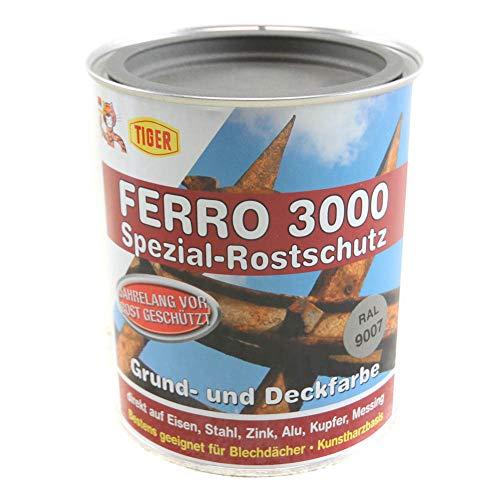 Tiger Ferro 3000 Rostschutz Grund & Deckfarbe Kunstharzbasis seidenmatt 0,75 Liter Farbwahl, Farbe (RAL):RAL 9007 Graualuminium