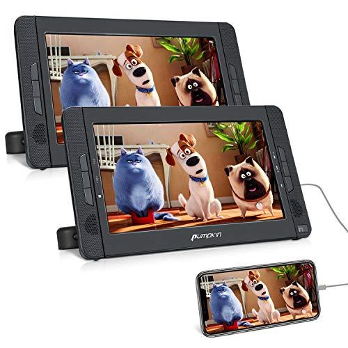 Pumpkin Lettore dvd portatile per auto poggiatesta bambini, 4 ore di riproduzione, con doppio schermo da 10.1 pollici, supporta HDMI/Regione free/USB/SD/DVD/CD