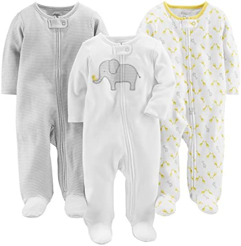 Simple Joys by Carter s Baby 3 Pack Neutral Sleep and Play Elephant Stripe giraffe Newborn product image