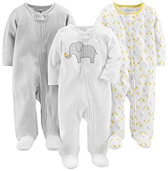 Simple Joys by Carter s Baby 3-Pack Neutral Sleep and Play Elephant Stripe giraffe 3-6 Months