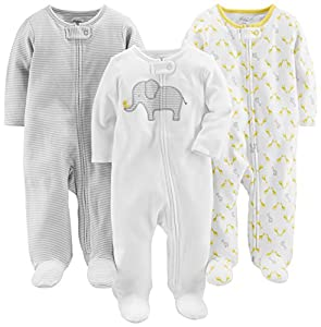Simple Joys by Carter's Baby Paquete de 3 para dormir y jugar ,Elephant/Stripe/Giraffe ,3-6 Months