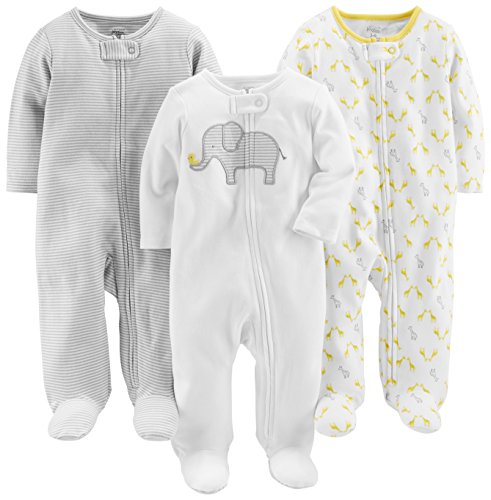 Simple Joys by Carters Baby Paquete de 3 para dormir y jugar ,Elephant/Stripe/Giraffe ,US NB (EU 56-62)
