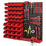 Sistema de almacenamiento de pared, 772 x 780 mm, soportes para herramientas y cajas apilables, placas de pared extrafuertes