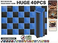 エースパンチ 新しい 40ピースカラーコンビセット青と黒 500 x 500 x 50 mm ウェッジ 東京防音 ポリウレタン 吸音材 アコースティックフォーム AP1134