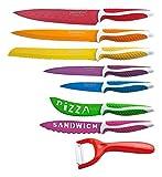 Royalty Line - Set Coltelli da Cucina, Antiaderenti, 7 Coltelli e Pelapatate, Multi Colore