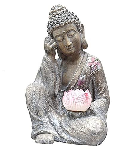 樹脂像彫刻座っている仏と蓮の工芸品の装飾屋外の装飾ソーラーLED庭ライトホームガーデンアート置物 YANRUI
