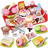 Buyger Comida Helados Juguete Alimentos Cortar con Tarta Cumpleaños Utensilios de Cocina Bandeja Juego Regalo Navidad para Niños Niñas 3 4 5 6 Año