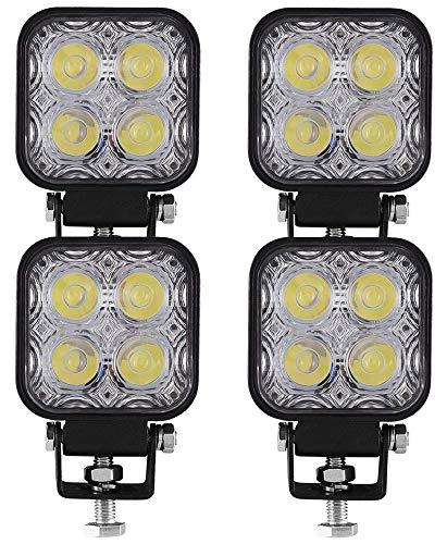 Ishima 4pcs 12W Faro Trabajo LED Focos de Coche 12V 24V Faros LED Tractor 6000K Off-road Foco de Trabajo LED IP67 Impermeable para Moto ATV SUV Camión Barco